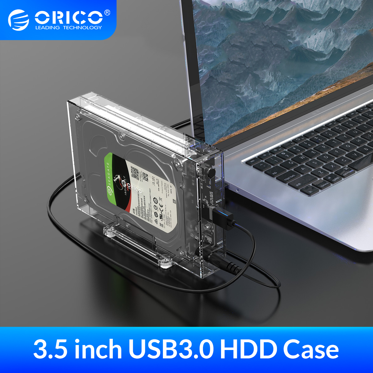 ORICO SATA to USB3 0 HDD Enclosure High Speed 5Gpbs Transparent 3 5 Inch Hard Disk Case Support UASP HDD Docking Station