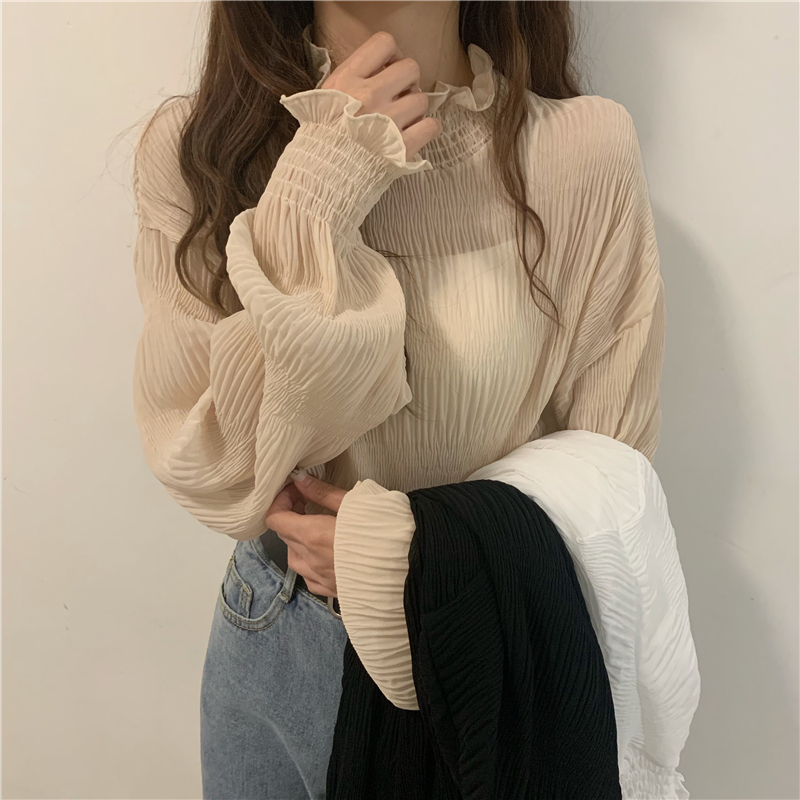 Women Solid Long Sleeve Chiffon Tops Female Casual Vintage Butterfly Sleeve Shirts Ladies Korean Ruffled Blouses Blusas Mujer