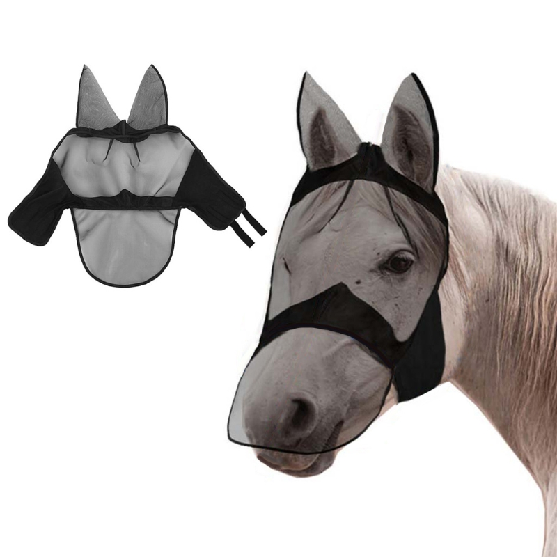 Summer Breathable Mesh Anti-mosquito Protection Horse Face Mask with Covers Ears D0LD