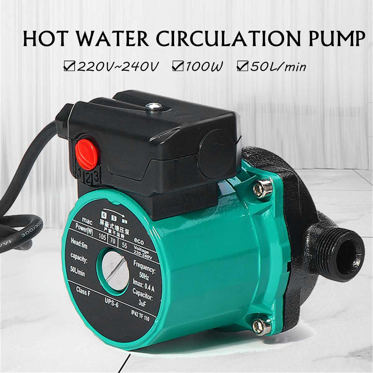 100w 3-speed Booster-Pump Circulation Silent Hot Water Circulation Pump For Household Solar Heater System