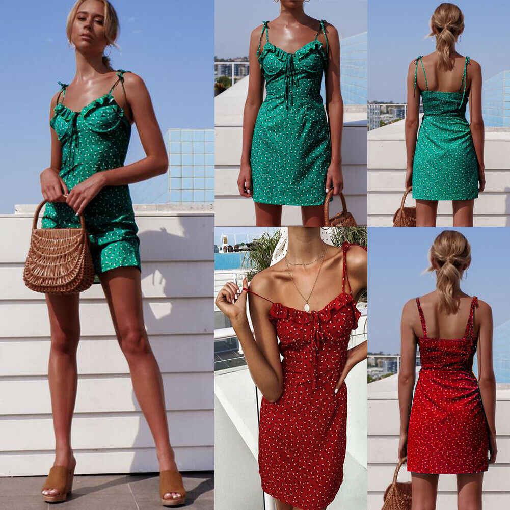 Hirigin 女性の花ミニ夏ドレスノースリーブ包帯セクシーなエレガントな女性パーティービーチドレスサンドレス vestidos ファッション