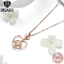 BISAER 100%Real 925 Sterling Silver Rose Gold Color Heart Apple Sakura Shape Pendant Necklace For Women Fashion Gift HSN313 bisaer 100%real 925 sterling silver rose gold color heart apple sakura shape pendant necklace for women fashion gift hsn313