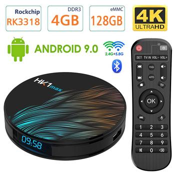 Android TV Box 9.0 RK3318 Smart TV Box 2GB 16GB Support 2.4G 5.8G WiFi Bluetooth 4.1 with Mini Backlit Keyboard Ethernet LAN 3D