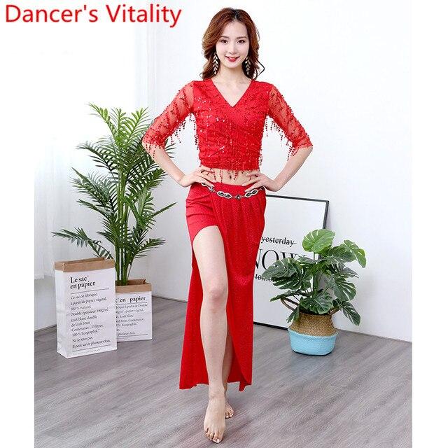 Belly Dance Practice Clothes Sequin Tassel Cut out Sleeve Top Skirt Set Women Beginners Beginners Oriental Indian Dancers Wear