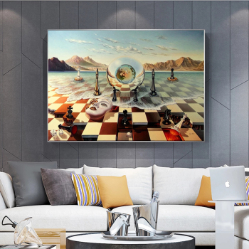 Salvador Dali Abstract Weird Canvas Painting Surrealism Chess Mask On Sea Poster Print Wall Art for Living Room Wall Decoration 2
