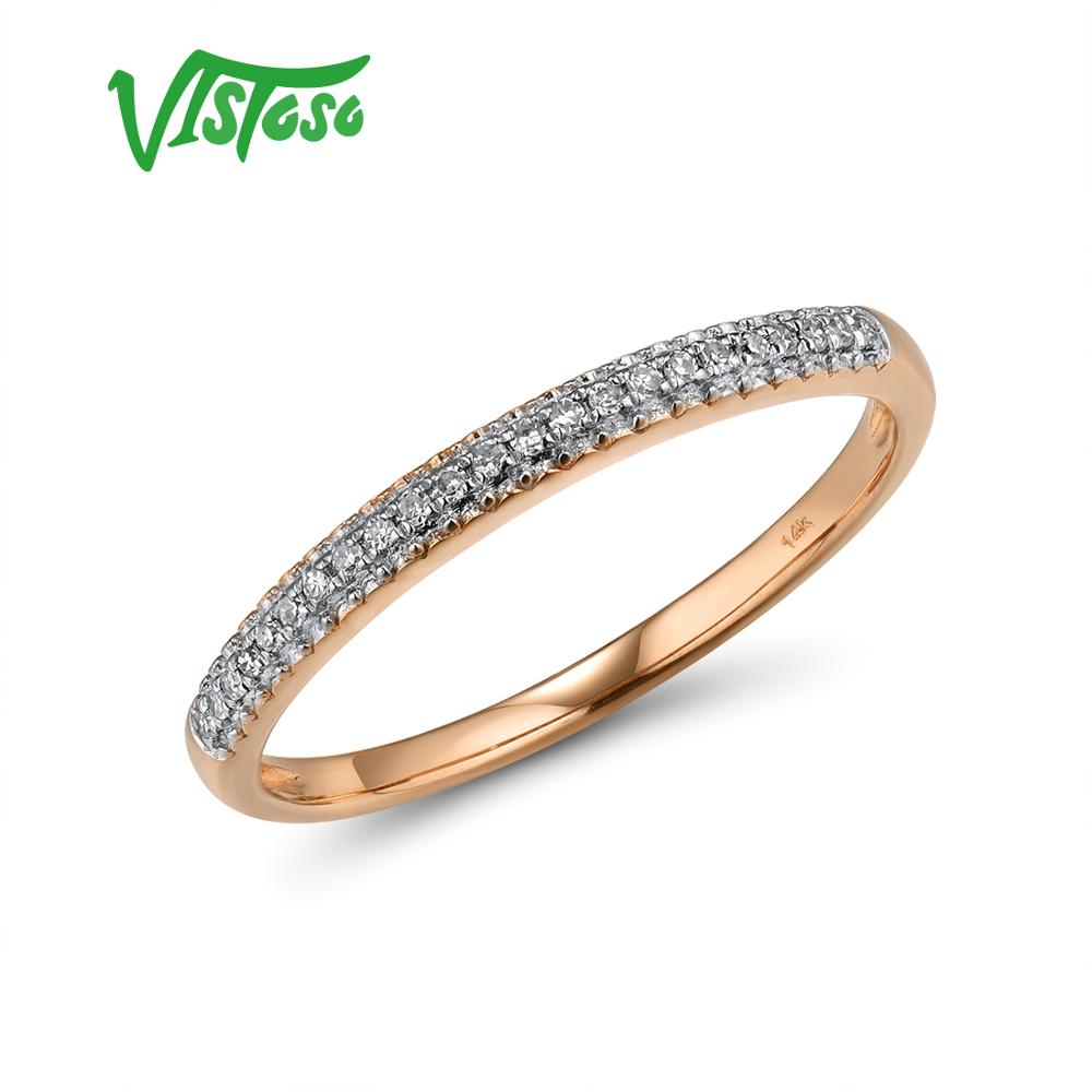 VISTOSO Genuine 14K 585 Rose Gold Sparkling Diamond Delicate Ring For Women Anniversary Engagement Fashion Trendy Fine Jewelry