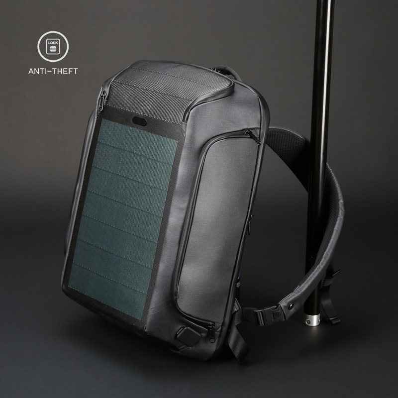 Kingsons Men New Beam Backpack Solar Panel +USB Charging Anti-theft/Waterproof/ 15.6 Inch Laptop Backpack Male Travel Backpack