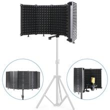 Zawód Broadcast mikrofon studyjny filtr Pop szyba przednia Mic tarcza płyta składana izolacja tarcza dla bm 800 mikrofon
