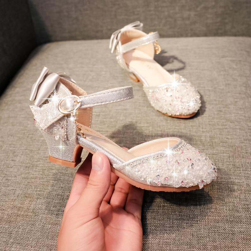 ULKNN Children Bowtie Princess Sandals Rhinestone Sequins Girls Kids Leather Shoes Soft Bottom Beach Sandals