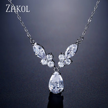 ZAKOL Brand Design Unique Water Drop Zirconia Crystal Pendant Necklaces for Elegant Women Fashion Bridal Jewelry FSNP2110 недорого
