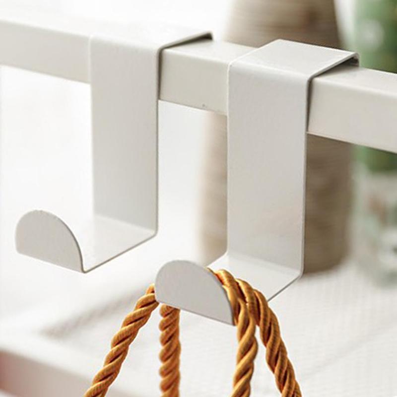 4 PCS Over Door Hook Metal Kitchen Cabinet Clothes Hanger Organizer Holder