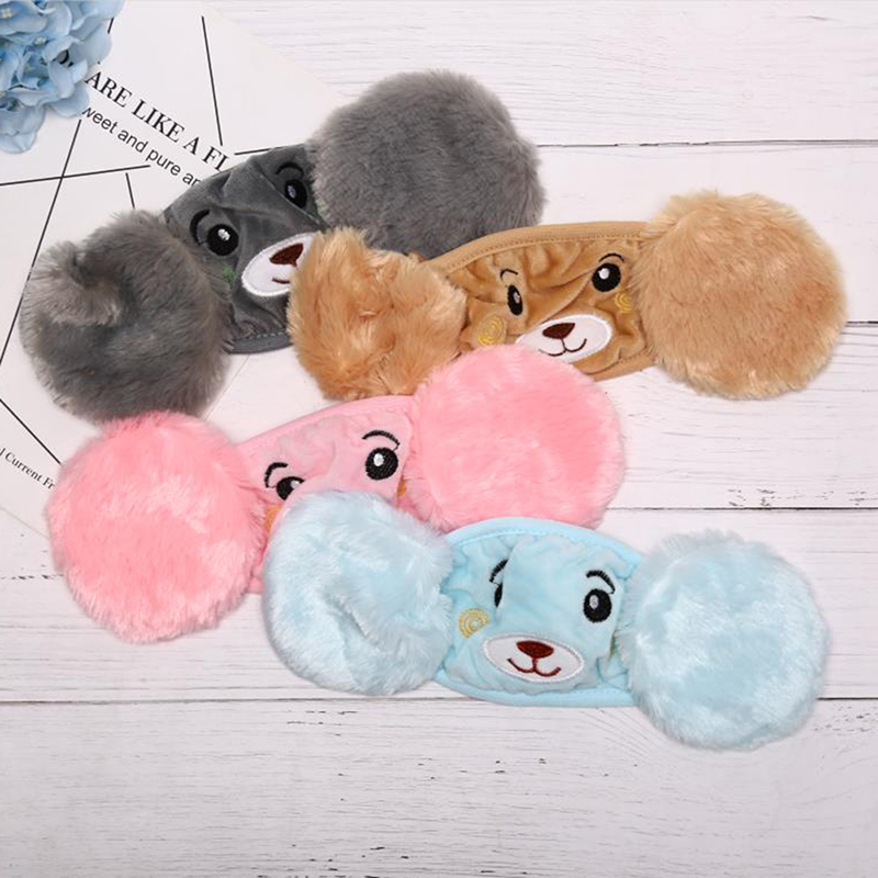 Winter Autumn Warm Plush Children Cartoon Ear Protectors Cotton Bear Warm Earmuffs Warm Mouth Mask Unisex Ear Cover
