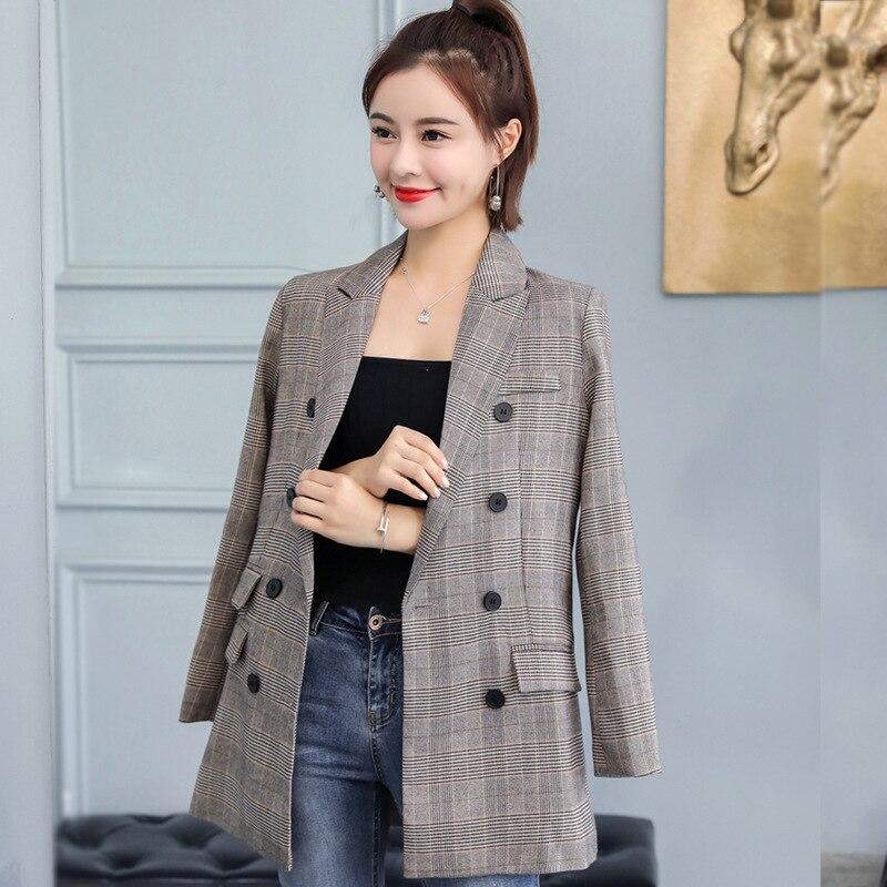 Женское однобортное пальто, осень 2019, новая мода, темперамент, Повседневный, тонкий, в клетку, однобортный, маленький костюм, женская рубашка