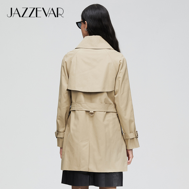 JAZZEVAR 2019 New arrival autumn trench coat women double breasted new high quality hooded medium length women fashion coat 9025 1