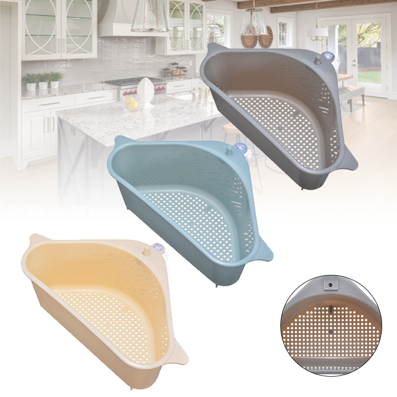 Kitchen Triangle Sink Storage Rack Plastic Vegetable Drain Shelf Hanging Dishwasher Holder Suction Cup Design Hole Free Tripod