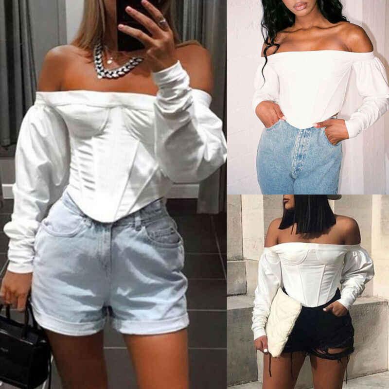 2020 kobiet Slim Fit koszulki Off ramię T Shirt Crop topy z długim rękawem biały t-shirt Slash Neck Jumper swetry damskie