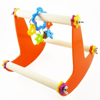 Bird Wood Swing Perch Toy for Parrot Parakeet Cockatiel Conure Cockatoo Macaw Lovebird Finch Canary Budgie Cage Stand