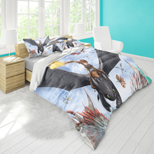 Double bed quilt cover 220cmx240cm bedding tamer dragon master pattern pillowcase three-piece set can be set pattern comfortable