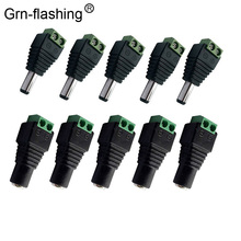 5pcs Female +5 pcs Male DC connector 2.1*5.5mm Power Jack Adapter Plug Cable Connector for 3528/5050/5730 led strip light 1pcs 5 5x2 1mm female dc power jack connector plug adapter for 5050 3528 single color led strip light cctv camera