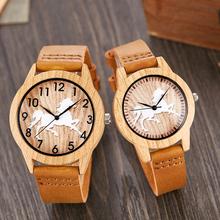 Nowy bambus lub design z koniem imitacja drewna zegarek mężczyźni kobiety para zegarek drewniane zegarki akrylowe męskie brązowy zegar na rękę Reloj tanie tanio Gorben 23cm Moda casual QUARTZ 3Bar Bransoletka zapięcie Szkło Kwarcowe Zegarki Na Rękę Nie pakiet Skórzane 38mm