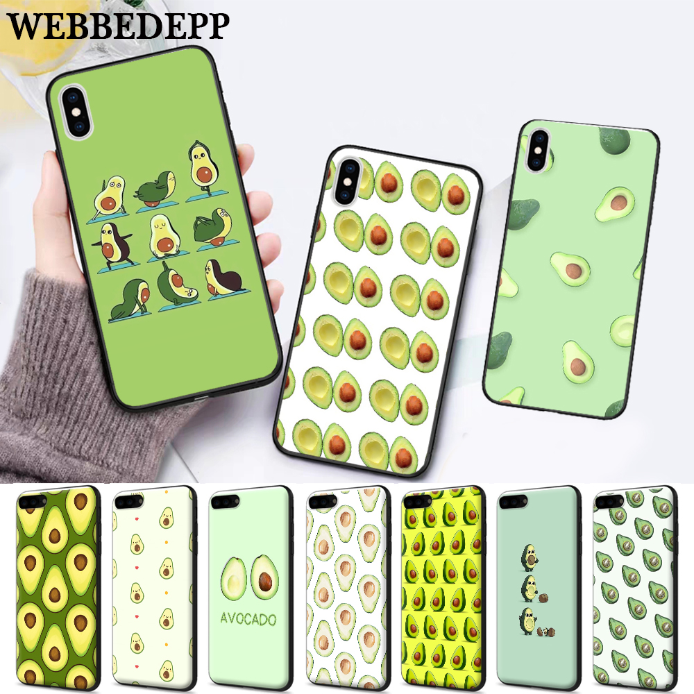 WEBBEDEPP Avocado fruit art Silicone soft Case for iPhone 5 SE 5S 6 6S Plus 7 8 11 Pro X XS Max XR