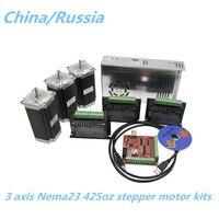 CNC Router 3 Axis kit 3pcs TB6600 Stepper motor driver+3pcs NEMA23 425 Oz motor +350W power supply +1pc 4 axis interface boar