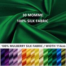Momme – tissu en soie de mûrier 100%, teinture de soie 30, largeur 114cm, soie unie teinte pour bricolage robe vêtements literie confortable de mariage