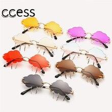 Modern Rimless Sunglasses for Women Classic Steampunk Cloud LightningTassel