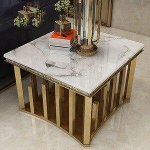 Высокое качество нержавеющей стали диван стол боковая Таблица мраморный стол для гостиной мебели