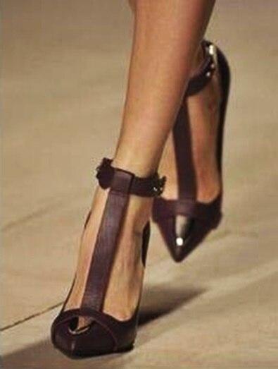 Zapatos de mujer de tacón alto delgado con puntera en T con correa de metal - 4