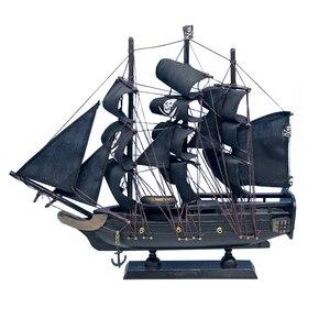 LUCKK Новинка 33 см черный Caribbean Corsair модель корабля деревянный парусник миниатюрная лодка парусная лодка для детей игрушки подарок Горячая Рас...