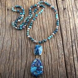 RH mode bohème bijoux pierres naturelles avec des liens Semi précieux goutte pierre pendentif Boho colliers pour les femmes cadeau livraison directe