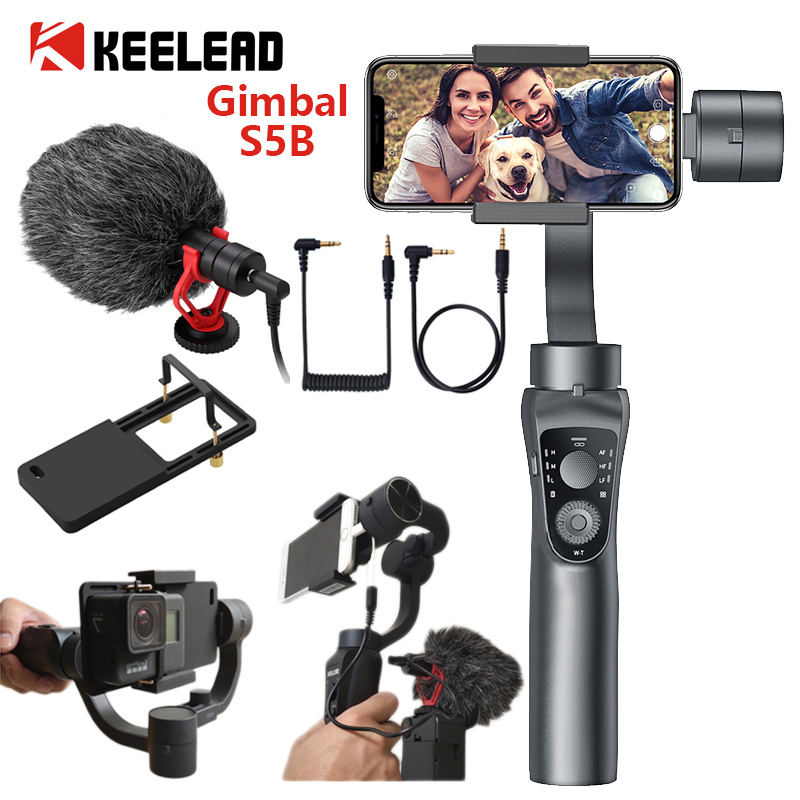 KEELEAD S5B 3 Axis Gimbal Stabilizer Zoom Control Handheld Smartphone For IPhone 11 Samsung S8 Xiaomi Huawe Go Pro Action Camera