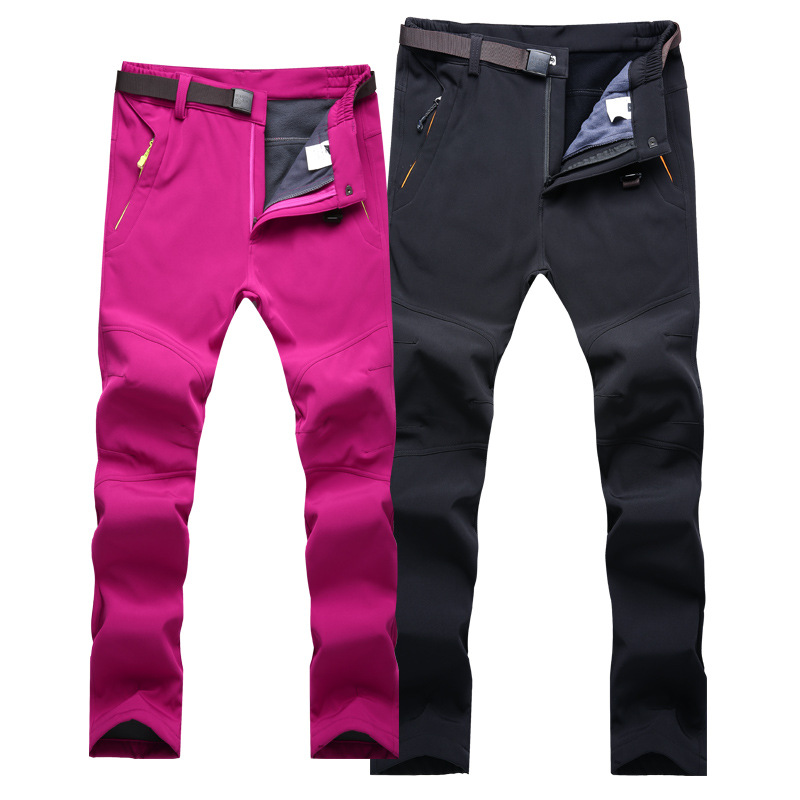 Hot Selling Large Size Trousers Men's Winter Brushed And Thick Climbing Pants Women's Outdoor Ski Pants
