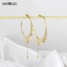 Moda zircônia cúbica personalidade grande hoop brincos bonito estrelas e lua longo borla acessórios brincos para jóias femininas