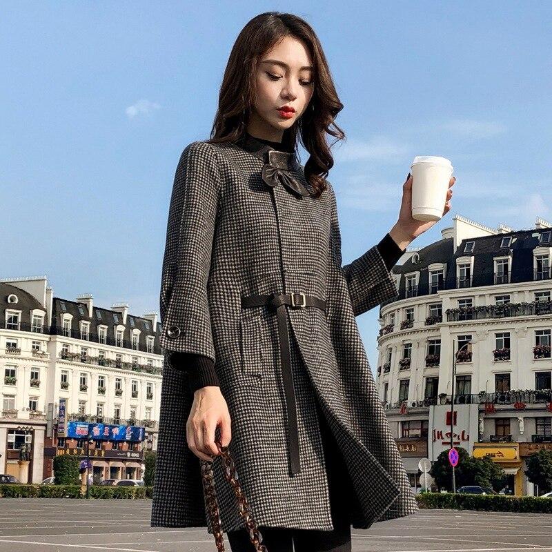 HAMALIEL, осенне-зимнее шерстяное Свободное пальто в клетку, новинка, модное женское твидовое шерстяное пальто с бантом, длинным рукавом и поясом в ломаную клетку - Цвет: Черный