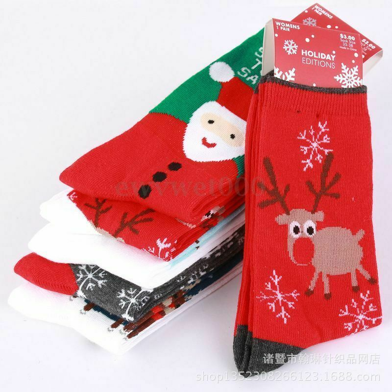 1 Pair Lovely Christmas Socks Women Gift Elk Deer Pattern Warm Winter Xmas Funny