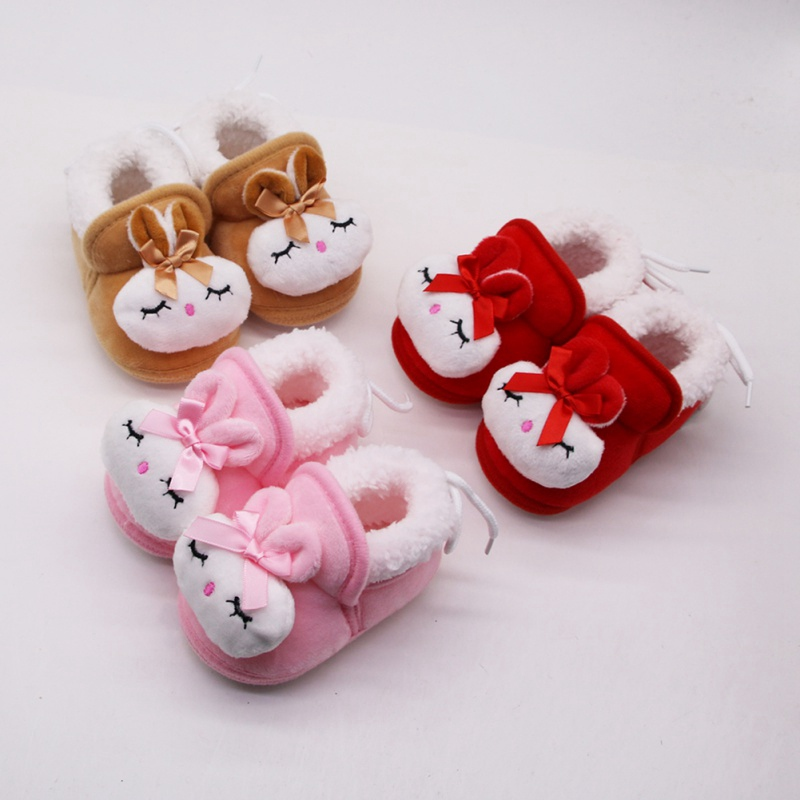 Rabbit Newborn Baby Girls Princess Winter Boots Infant Toddler Kids Girl Footwear Shoes Sweet Soft Soled Baby Shoes