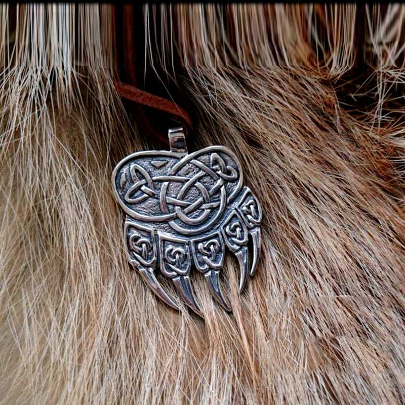 Beier 316L stainless steel Amulet Viking Slavic God Symbol Warding Veles Bear Paw with lucky knot Pendant Necklace Jewelry LP291