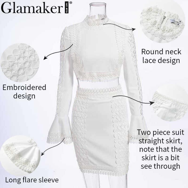 Glamaker dentelle blanc moulante mini robe femmes deux pièces costume flare manches robe d'été élégante récolte courte sexy fête club robe