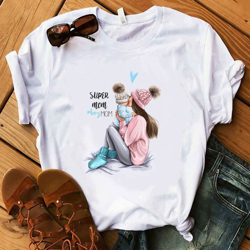 Size XS Vogue Mom T Shirt Women Mama's Boy Summer White T-shirts Woman 100% Modal Summer Soft Tops Mother Gift Lady Shirt