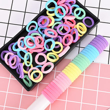 Quaslover 50Pcs 3cm Colorful Girls Hair Accessories Elastic Hair Band Ponytail Hair Ring Kids HeadBand Children Gum Ties Holder(China)