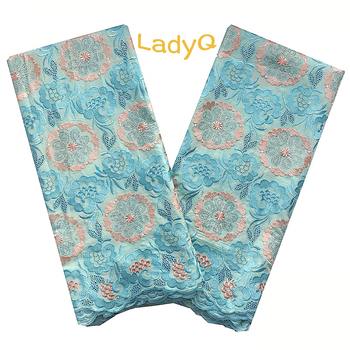 Embroidered Blue African Cotton Lace with Stones 2020 High Quality Swiss Voile Lace in Switzerland 5 Yards White Nigerian Laces