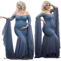 Maternity Maxi Dress for Photo Shoot Gown Long Sleeve Lace Stitching Maternity Dress Off Shoulder Pregnant Photography Props