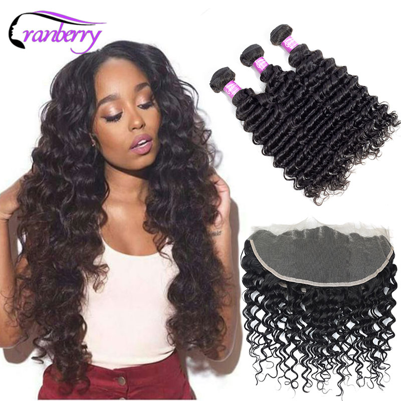 Cranberry Hair Brazilian Deep Wave Bundles With Frontal 13*4 Ear To Ear Lace Closure 100% Remy Human Hair Bundles With Frontal