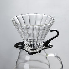Thickened handmade glass coffee funnel V60 drip filter cup striped glass coffee filter reusable coffee filter coffee