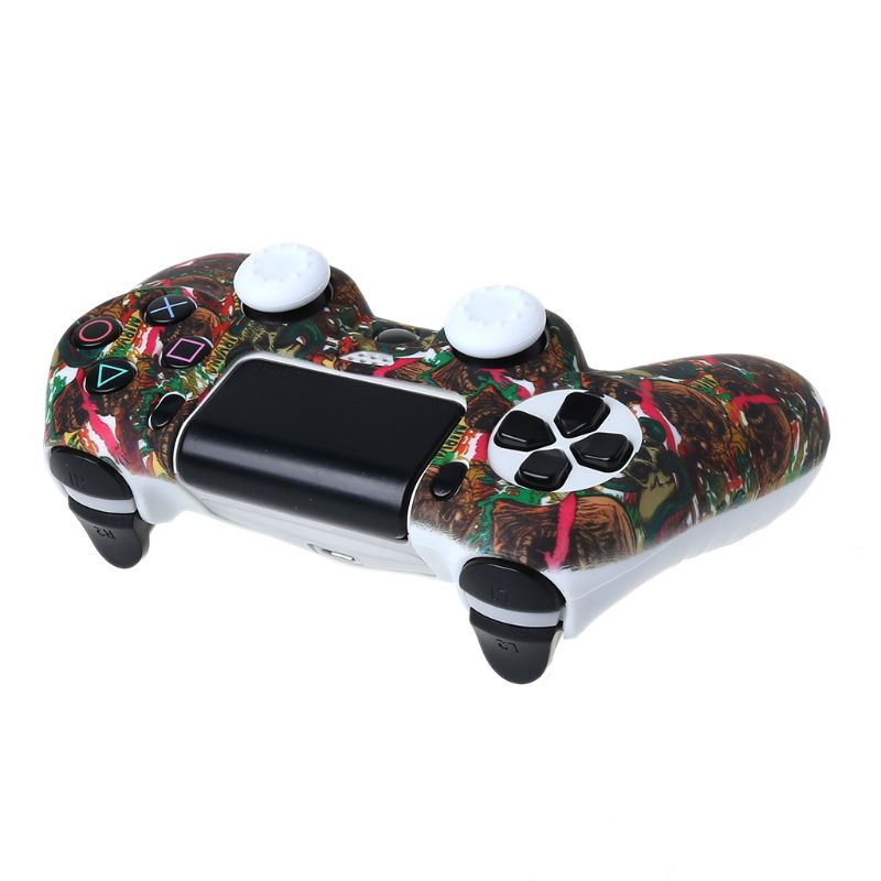 1Set Star Skull Case Silicone Protective Cover with Joystick Cap for PS4 Handle