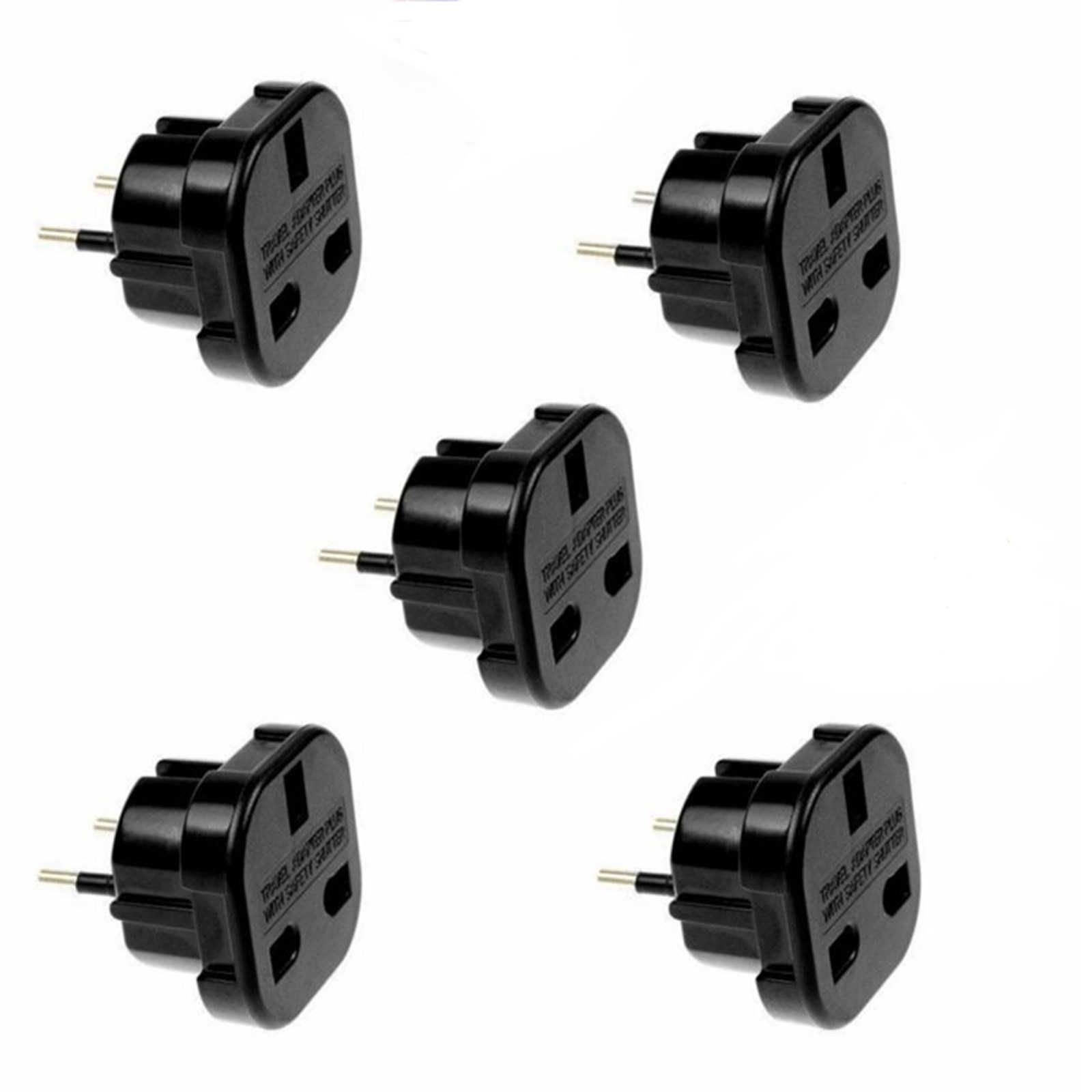 1Pcs Travel UK To EU Plug Converter 3 To 2 Pin Converter Adapter Power With Safety Shutter For Any European Destination