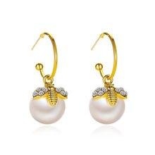 WUKALO coréen nouveau exquis miel abeille perle boucles d'oreilles mode tempérament polyvalent petites boucles d'oreilles élégantes dames bijoux