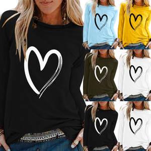 Fashion Tshirt Tops Camiseta Poleras Long-Sleeve Print Aesthetic Ropa Mujer Casual O-Neck